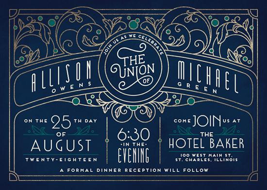 wedding invitations - Ornate Deco by GeekInk Design