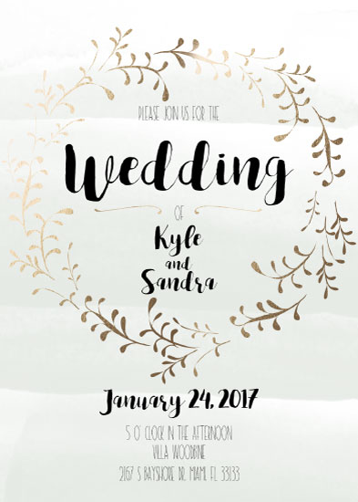 wedding invitations - Gold Wreath Wedding Invitation by Printaholics