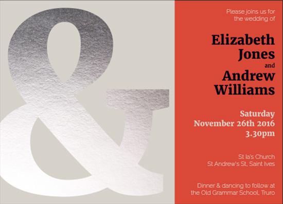 wedding invitations - Silver Ampersand by Veronica Galbraith