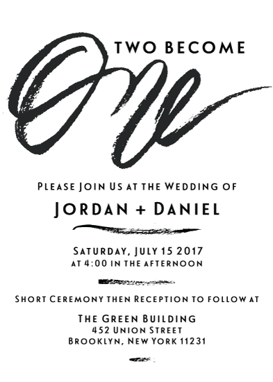 wedding invitations - Two Become One by HOOKED Calligraphy