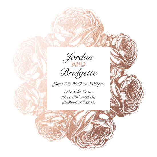 wedding invitations - Rose Gold Floral Wedding Invitation by Printaholics