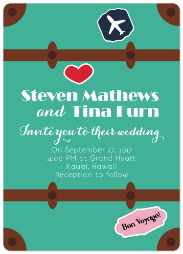 wedding invitations - bon voyage pack your bags by Concept Designz