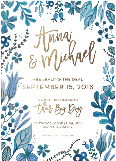 wedding invitations - Blue & Gold by Alex Obering