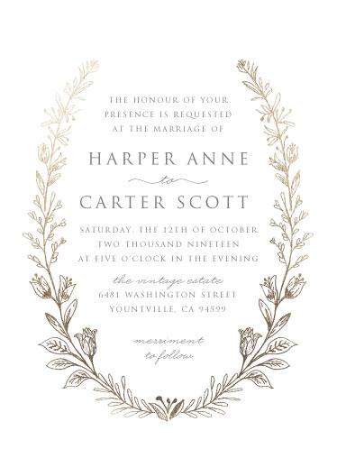 wedding invitations - Gilded Laurels by Smudge Design