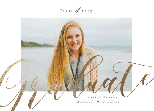 graduation announcements - a festive graduation in gold by Benita Crandall