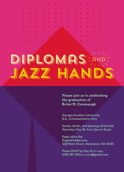graduation announcements - Jazz Hands by Britni Cavanaugh