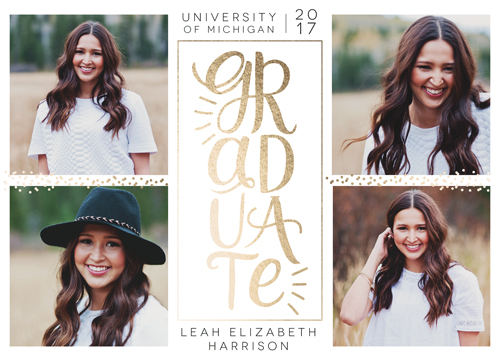 graduation announcements - Stacked Gold Grad by Alisa Brainard