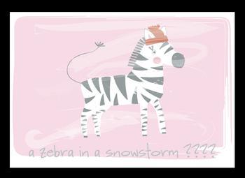 a zebra in a snowstorm?