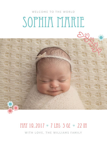birth announcements - Simple Hearts and Flowers by Sam Dircks