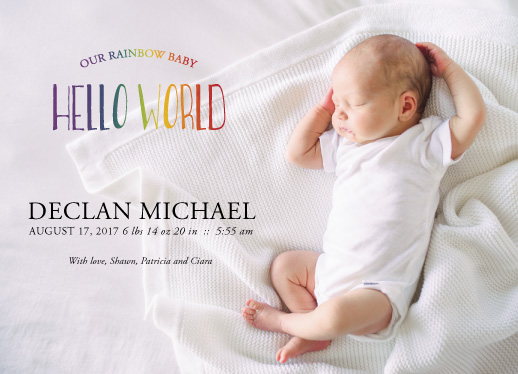 birth announcements rainbow baby blessing at minted com
