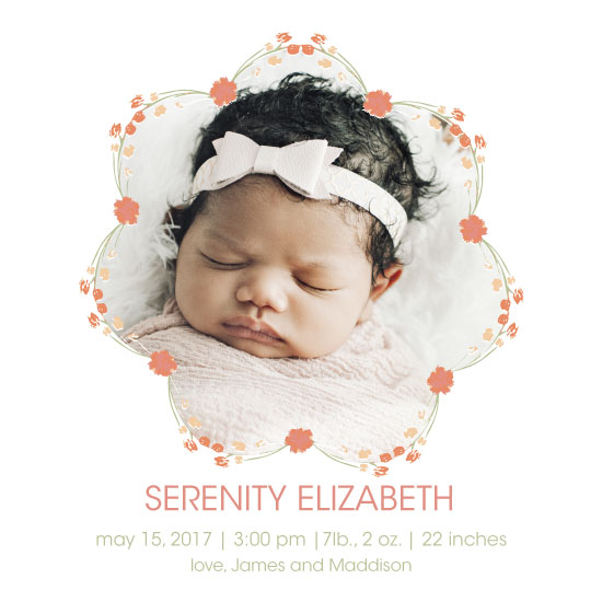 birth announcements - Floral Wreath Baby Girl by Amanda Zoss