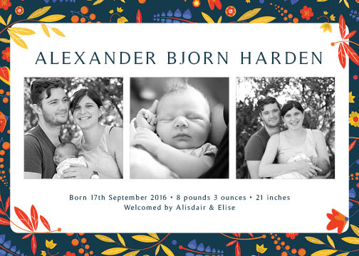 birth announcements - Handdrawn Leaves by Elise Harden