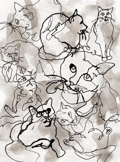 art prints - Gestural Cats by Kayvee Creative