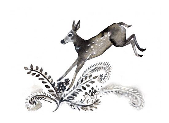 art prints - Deer Jump by Eva Marion