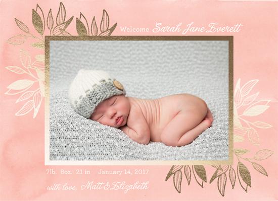 birth announcements - Gold Botanical Border by alisa brainard