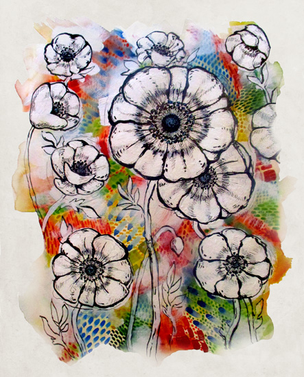 art prints - Poppies & Patterns by Kayvee Creative