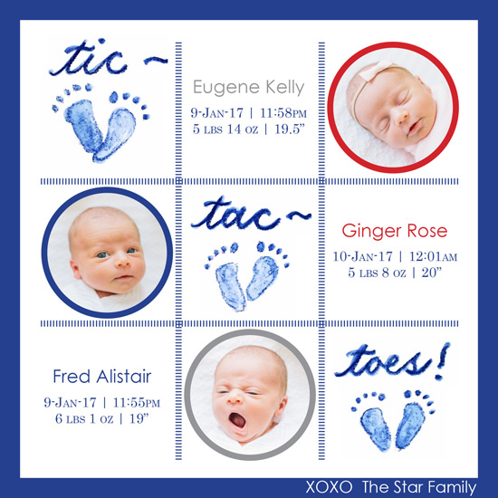 birth announcements - Tic-tac-toes by Laura Ann Trimble Elbogen