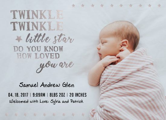 birth announcements - Twinkle Twinkle Baby Star by Janelle Williams