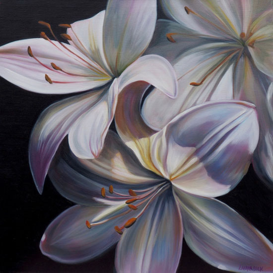 art prints - Elegant White Lilies by Laura Dick