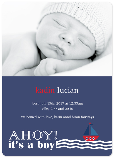 birth announcements - Ahoy! It's A Boy! by Janelle Williams