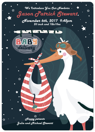 birth announcements - Night Stork delivery by Kristina Me