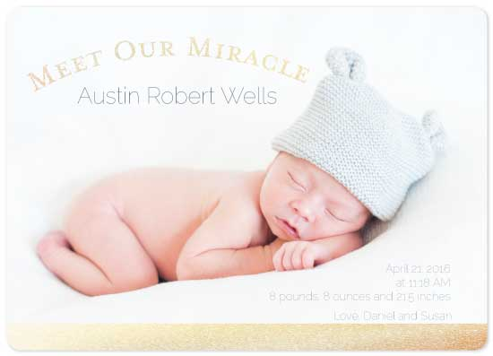 birth announcements - Meet our Miracle by Susan Ralls