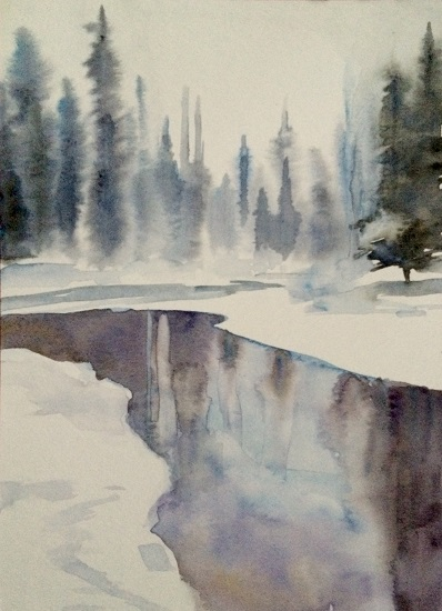 art prints - Winter river by Sarah J Wright