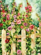 """""""Hollyhocks"""" by Debra Stevenson"""
