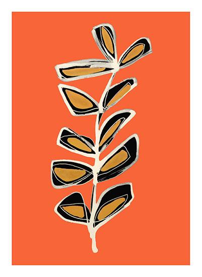 art prints - Modern Stem No. 3 on Orange Spice by Deborah Velasquez