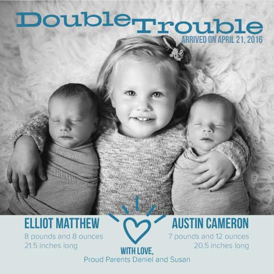birth announcements - Double Trouble Twins by Susan Ralls