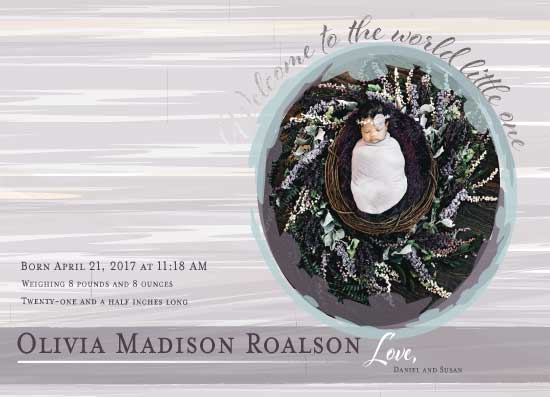 birth announcements - Water Color Welcome by Susan Ralls