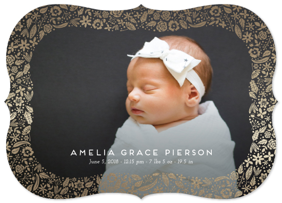 birth announcements - floral curved frame by Erin Deegan
