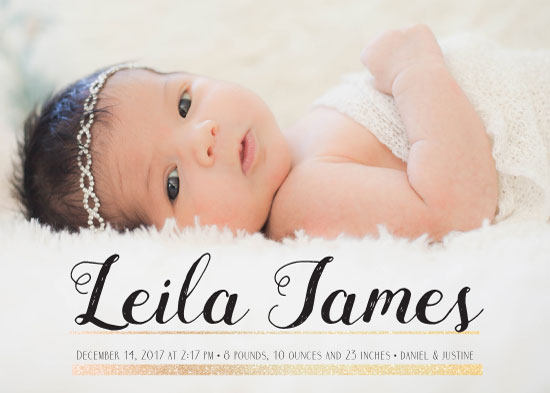 birth announcements - Glitter Sheek by The Paper Proposal