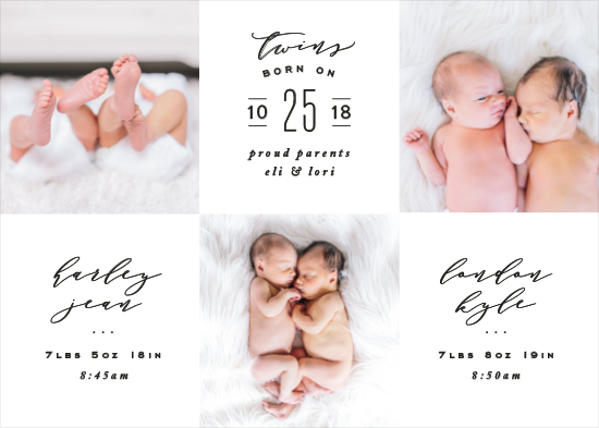birth announcements - For the Love of Twins by Hooray Creative