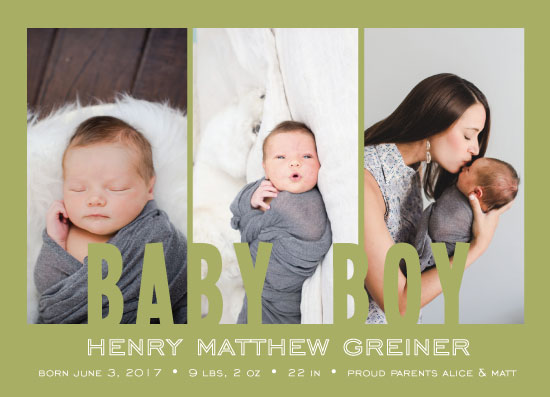 birth announcements - Green Bean by JOHNONE 3 DESIGNS