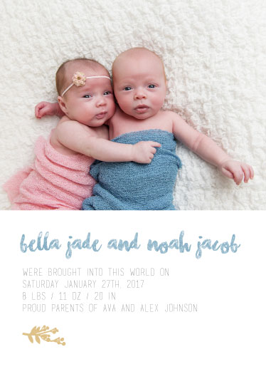 birth announcements - Twinsies by Jessica Mighton