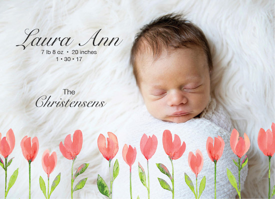 birth announcements - Watercolor Baby Tulips by Shannon Christensen