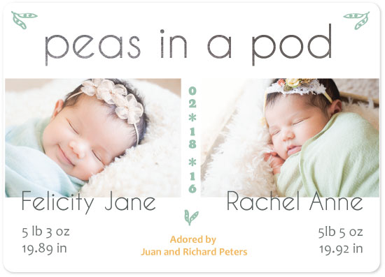 birth announcements - Peas in a Pod by Dazeley