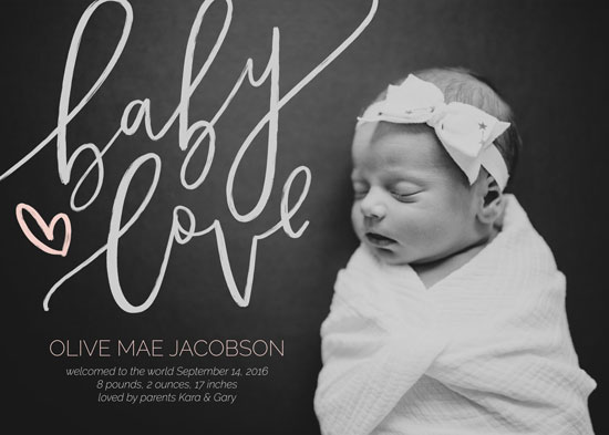 birth announcements - Baby Love - Calligraphy by Manayunk Calligraphy