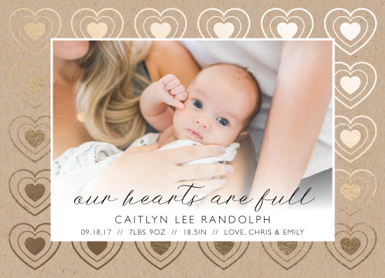 birth announcements - Hearts are Full by Mabe Design Co.