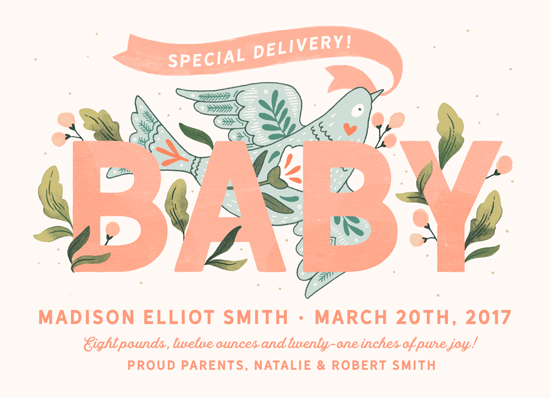 birth announcements - Baby Bird by Paper Raven Co.