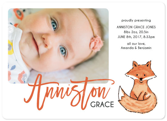 birth announcements - Foxy by Janelle Wourms