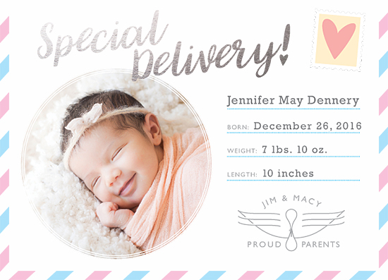 birth announcements - Special Delivery (Air Mail) by Julia Blake