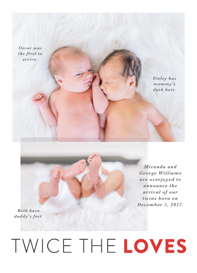 birth announcements - Twofold by Jennifer Lew