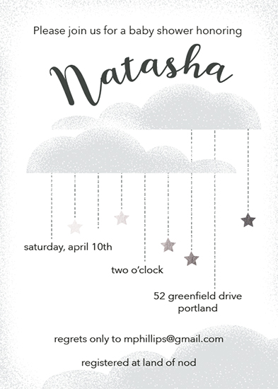 baby shower invitations - Starry Cloudbursts by Julie McCarthy