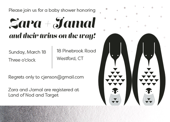baby shower invitations - Penguin Twins by Julie McCarthy