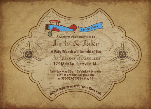 baby shower invitations - Vintage Aviation by Lisa Rodgers
