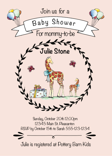 baby shower invitations - Baby Giraffe by Lisa Rodgers