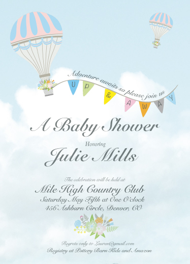 baby shower invitations - Up and Away by Lisa Rodgers