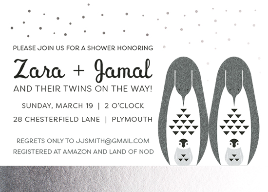 baby shower invitations - Penguin Twins II by Julie McCarthy
